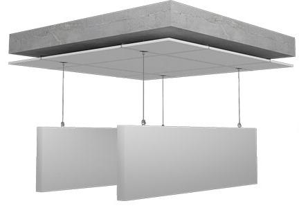 Yüzer tavan panelleri 95 kg/m3 yoğunluğunda kumaş kaplı cam yünü levha ile oluşturulmuştur.Yüzer tavan panellier ses yalıtımı sağlayan akustik yalıtıma ve ses düzenlemelerine katkıda bulunan dekoratif ses yalıtım ürünüdür.