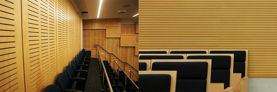 Derzli akustik paneller, slotlu , frezeli ahşap panelin arka tarafına belirli aks aralıklarıyla deliklerin açılması, ön tarafına da deliklere uygun akslarla derzlerin açılmasıyla akustiklik özelliğini kazanan panellerdir.Bu paneller üzerindeki derzlerin sıklığı ve delik sayısı, panelin perforasyon oranını yani akustiklik özelliğini belirler.Her panelin arkasında Soundtex marka akustik bez bulunmaktadır.