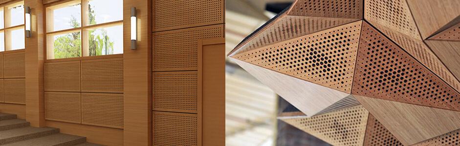 Ahşap Duvar Panelleri Kullanım Alanları Toplantı odaları, konferans salonları, ofis, kongre salonları, telekonferans salonları, büyük parti ve düğün salonları, organizasyon fuarları gibi daha bir çok kullanım alanı olup dekoratif amaçlı ve ses yalıtımı amaçlı kullanılırlar. Derzli ve delikli modelleri opsiyoneldir. Sesi soğurmaz, bir miktarını yutarak sesin doğru yöne kaliteli şekilde yansımasını sağlar.